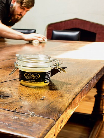 Waxing antique oak furniture