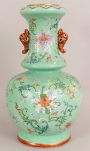 Chinese lime green ground famille rose porcelain vase