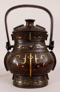 Chinese Ming Dynasty inlaid bronze You vase and cover
