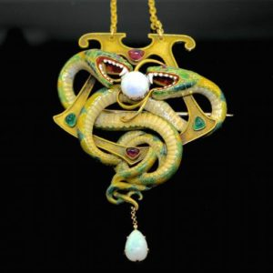 Enamel, opal, emerald and ruby serpent pendant, by Gustave Roger Sandoz, 1901
