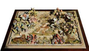 mid-17th century raised work panel