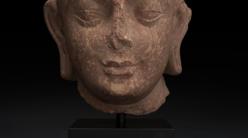 pink Indian Sandstone Head of Buddha, Mathuran District, Kushan Period, 2nd-3rd Century AC