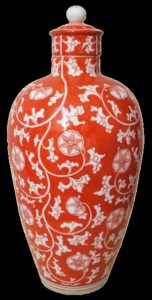 Orange and white Meissen vase and cover