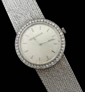 A ladies Jaeger LeCoultre gold and diamond watch made circa 1980