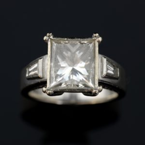Princess cut diamond ring weighing 3.41 carats
