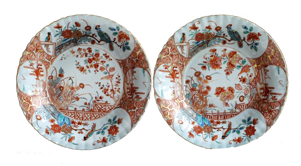 A pair of Chinese export deep plates, from 1720-1730