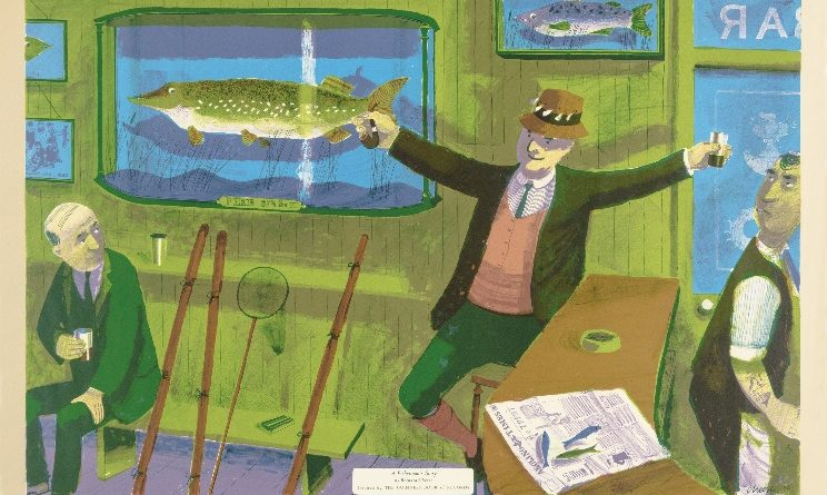 Bernard Cheese, A Fisherman's Story, 1956, colour lithograph, © Chloe, Joanna and Sarah Cheese