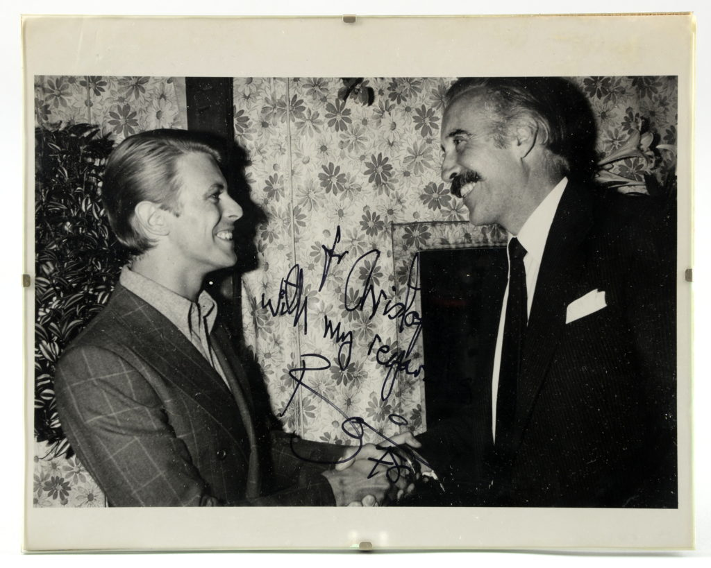 A photograph of David Bowie and Christopher Lee
