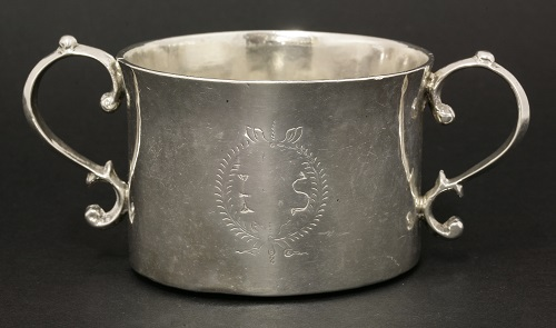 A Commonwealth/Charles II Irish silver two-handled porringer, known as the 'IS' Porringer