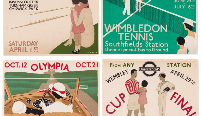 A selection of vintage sporting posters