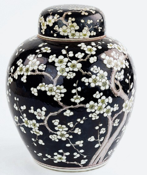 a chinese black ground ginger jar and cover 19th century
