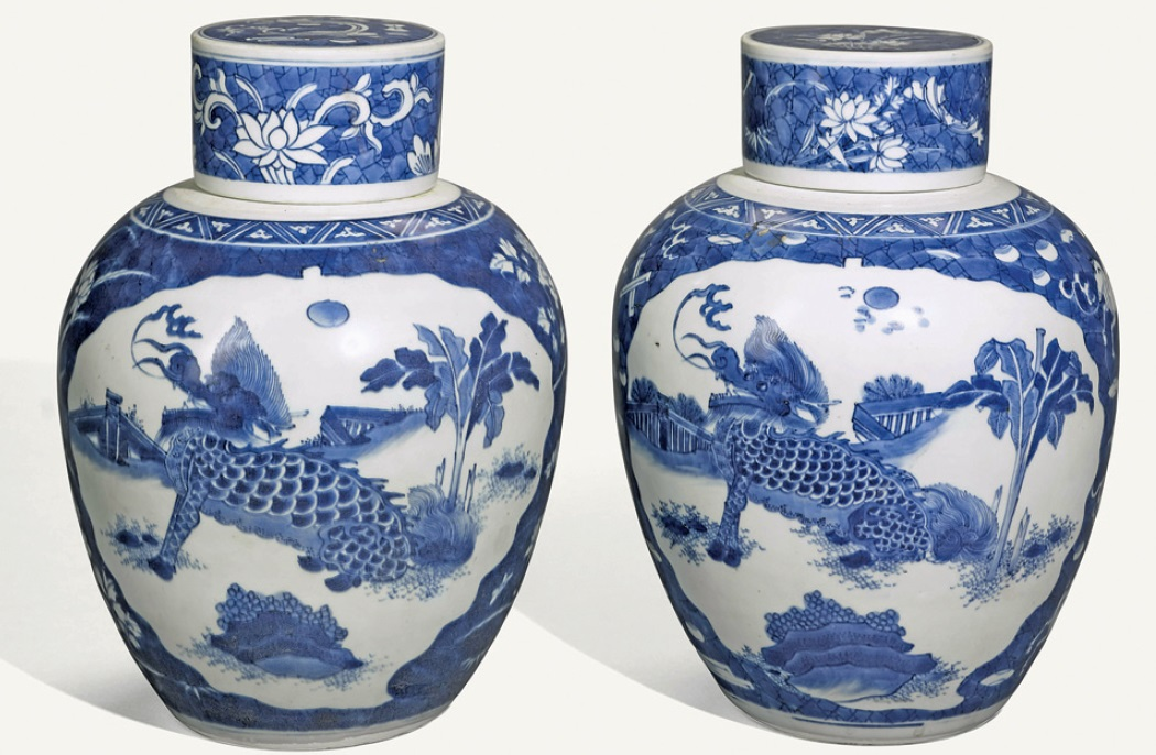 a pair of chinese blue and white porcelain ginger jars