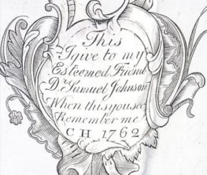 Inscription on silver tankard given to Dr Samuel Johnson
