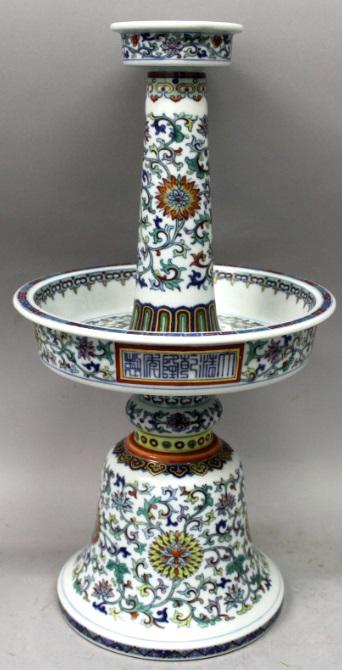 A period doucai porcelain candlestick