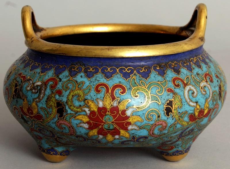 8th century cloisonné period tripod censer