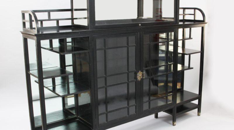 A rare Anglo-Japanese ebonised mahogany cabinet