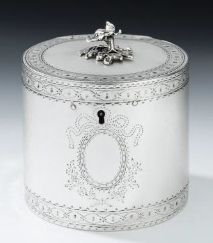George III silver drum tea caddy