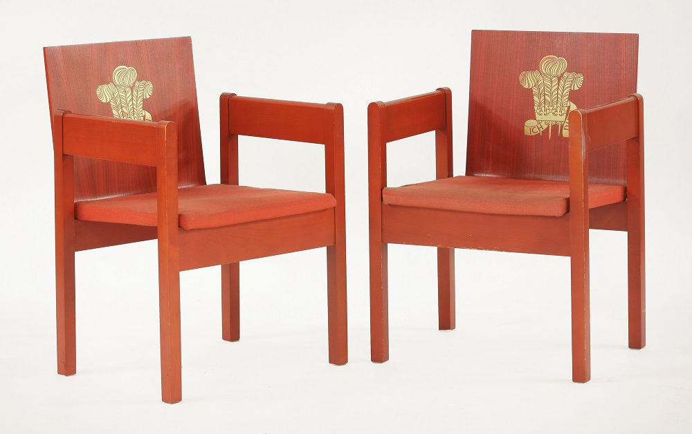 Two chairs designed for the use of dignitaries at the Investiture of Prince Charles as Prince of Wales