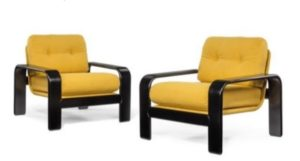 Pair of ebonised bentwood frame armchairs by Asks of Sweden c1970