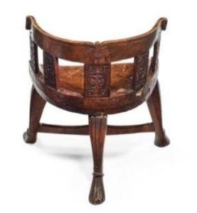 Hewn & carved yolk-back armchair, Norway, c1800