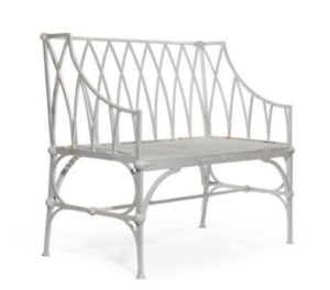 Regency gothic cast iron garden seat, Scottish 1830