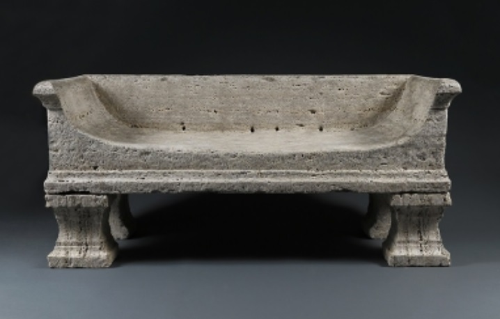 19th century Italian solid travertine bench