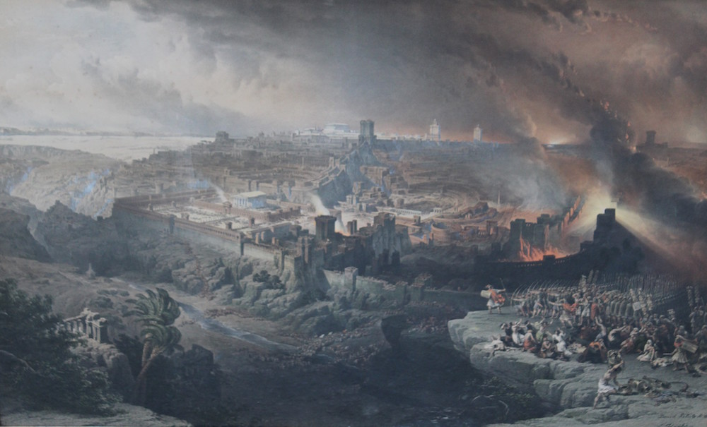 'The Siege and destruction of Jerusalem', the original a work by the Royal Academy artist David Roberts (1796-1864)