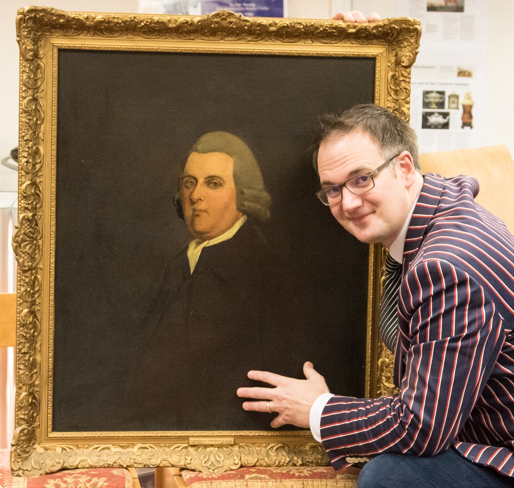 Charles Hanson with a portrait by Joseph Wright of Derby