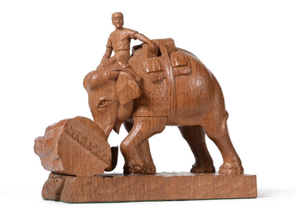 Elephant group oak carving by Stan 'Woodpecker' Dodds