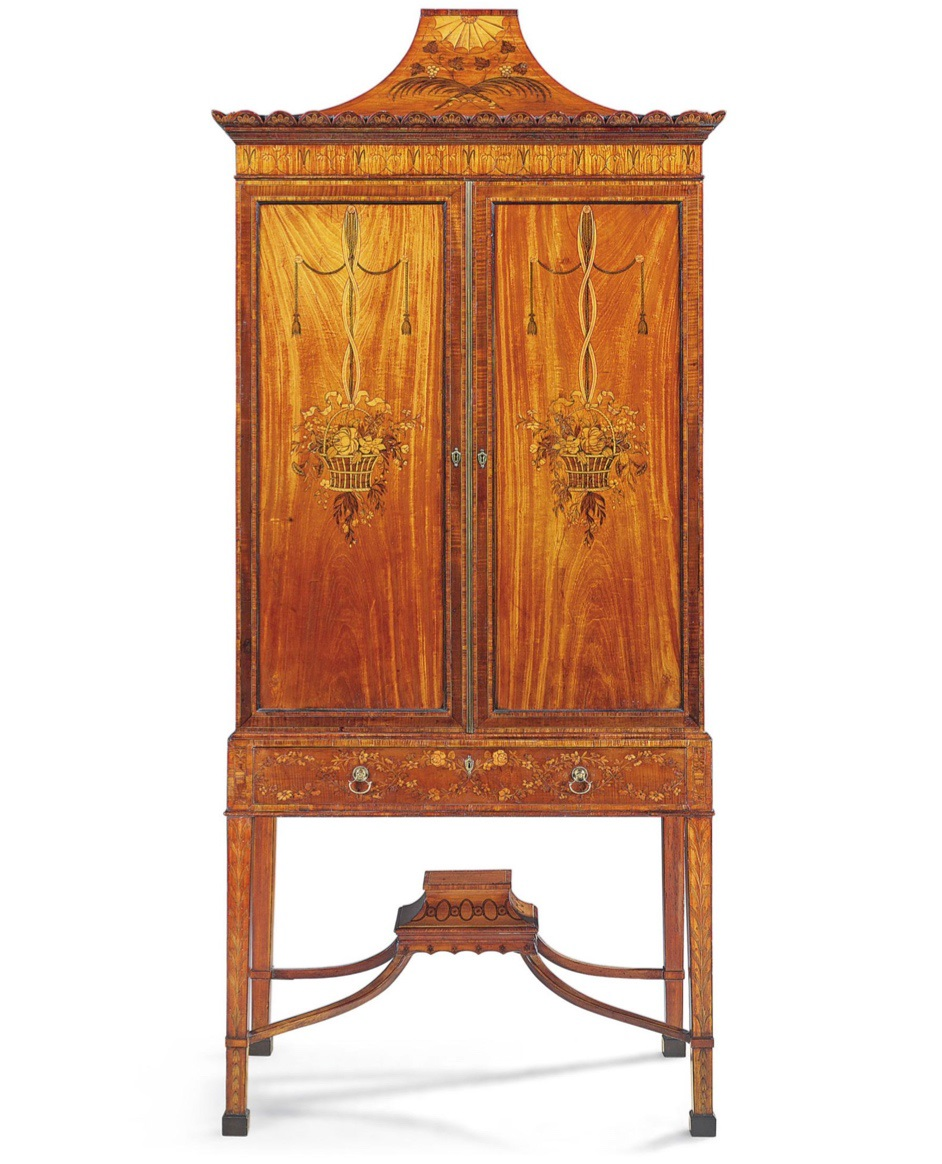 George III satinwood and marquetry pagoda-topped cabinet