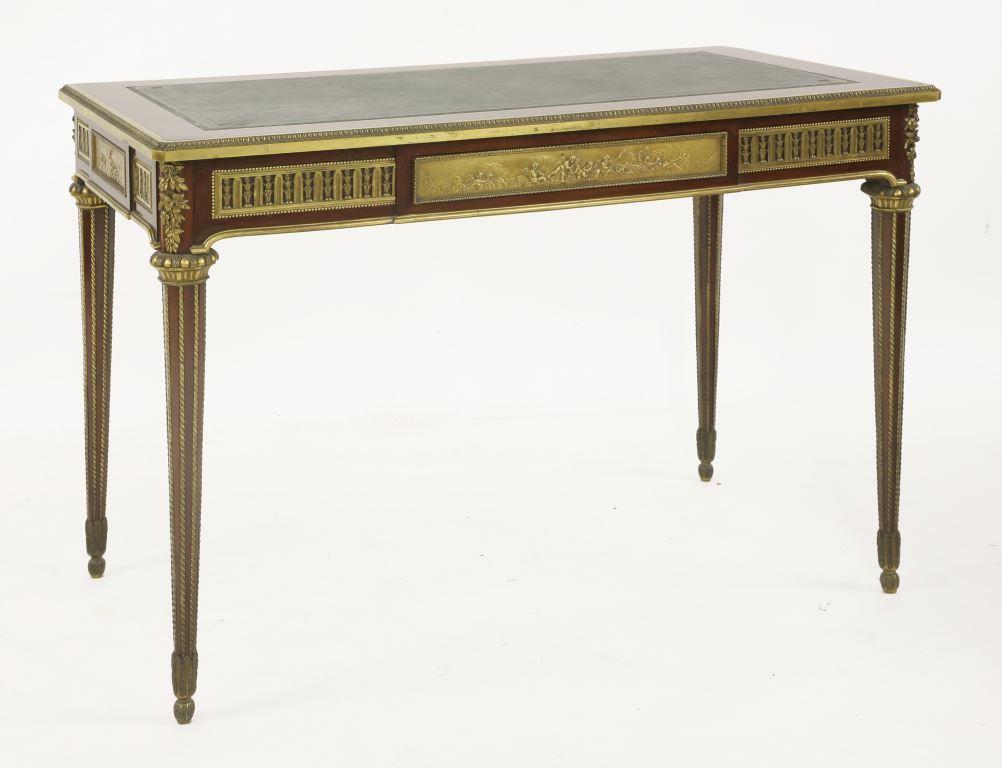 A Louis XVI design mahogany and ormolu-mounted bureau plat