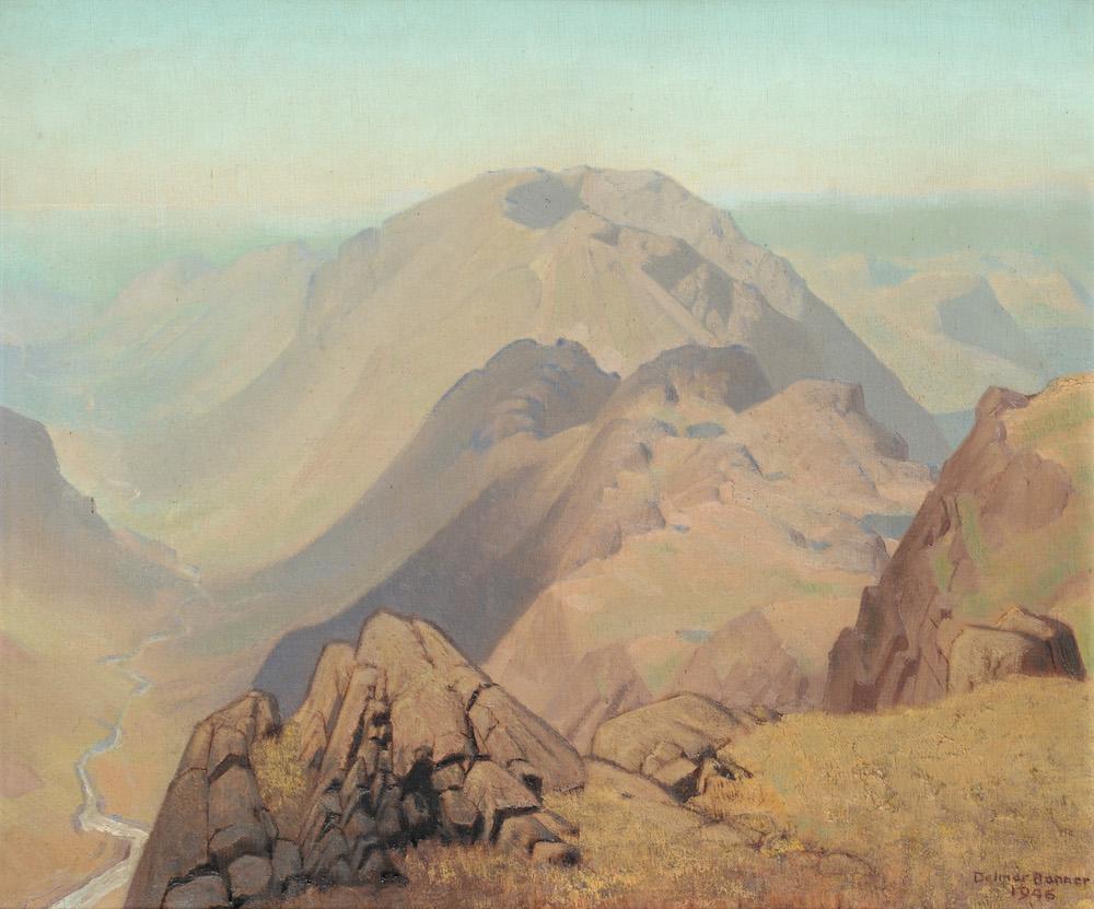 A River Winding Through a Mountainous Landscape by Delmar Harmood Banner