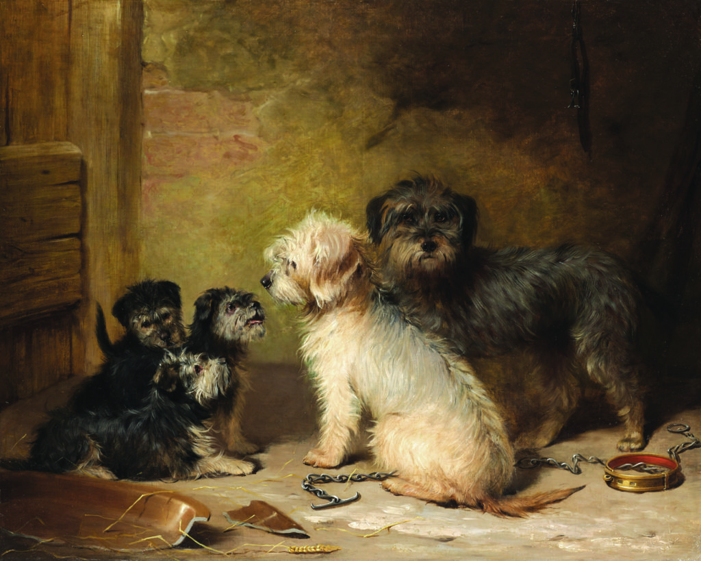 the earliest known oil painting of Dandie Dinmont terriers