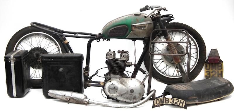 A dismantled Triumph 500cc motorcycle