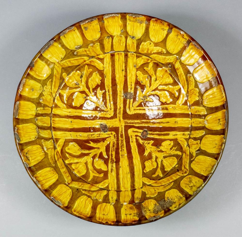 18th century circular slipware dish