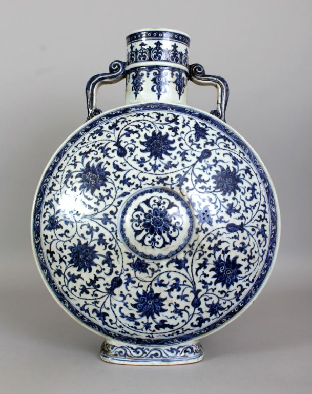 A very large 18th Century Chinese  Qianlong Period Ming style blue & white porcelain moon flask 14.3in(36.5cm) wide at widest point & 19.5in(49.5cm) high. £20000-30000