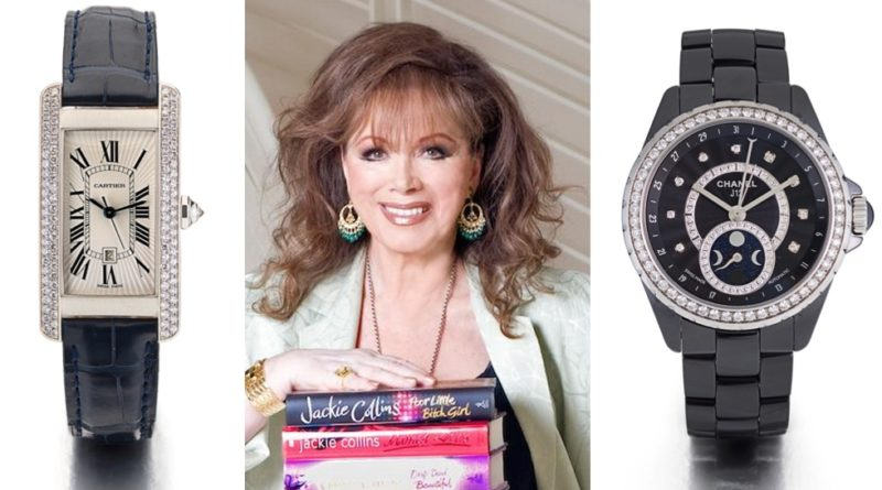 Jackie Collins watches at Bonhams