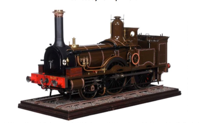 model of a 7 ¼ inch gauge LSWR Beyer Peacock 2-4-0 Joseph Beattie Standard Well Tank Locomotive No 257