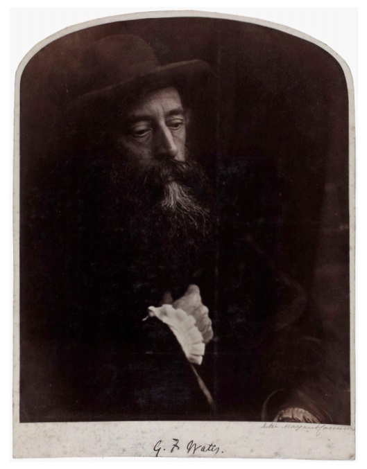 Julia Margaret Cameron (1815-1879) G. F. Watts, 1864 Albumen print pasted on original card, signed in ink by the photographer and titled in ink in unknown hand on card recto, 25.2 x 20.5cm (10 x 8in)