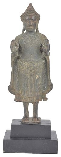 A 12th century Khmer bronze figure