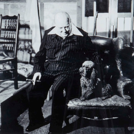 Elsbeth Juda (1911-2014) At home with Churchill, Sir Winston Churchill, Chartwell, Kent, 17 October 1954 Gelatin silver print, printed later, signed and editioned 2/8 in black ink with publishers' 'L'Equipement des Arts' blindstamp in the margin, 38 x 38cm (15 x 15in)