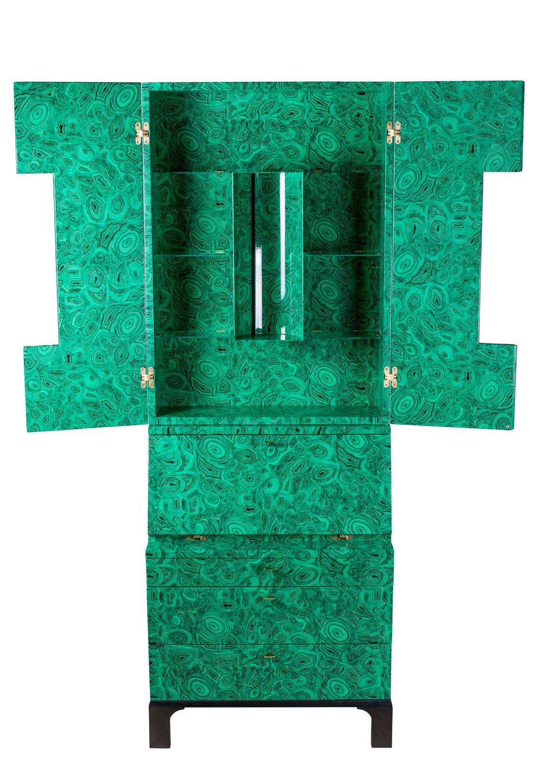 "A Fornasetti ""Malachite"" trumeau cabinet by Ateliers Fornasetti. Lithographically printed on hand colored lacquer wood, one of three, 2010, Italy, £45,000, exhibited by Holly Johnson"