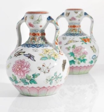pair of famille rose 'butterfly' double-gourd vases