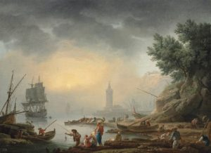 Claude Joseph Vernet, A Mediterranean sea-port with fishermen unloading cargo