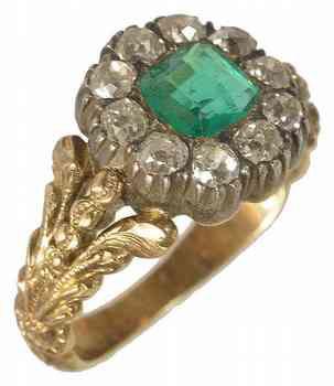 Georgian emerald and diamond cluster ring