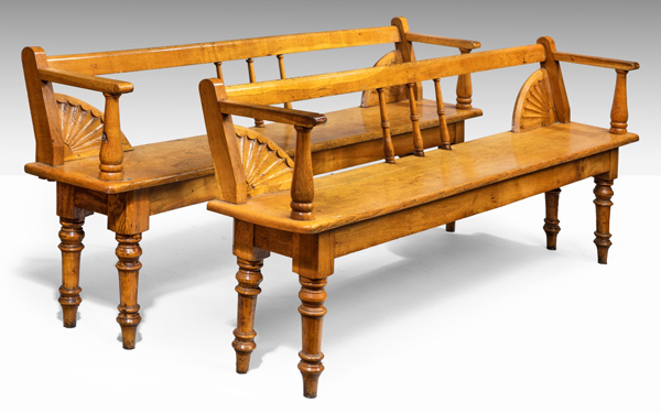 A pair of antique Irish oak benches