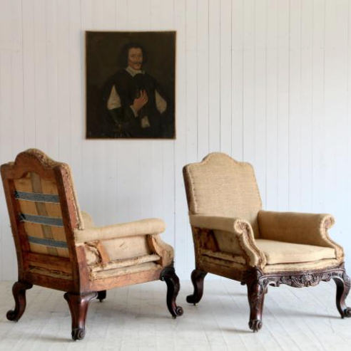 A pair of antique French armchairs