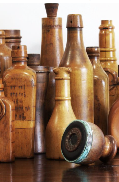 Antique wooden glass bottle moulds