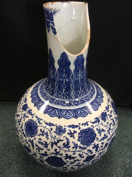 Damage to the Chinese vase