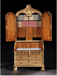 A George I giltwood secretaire cabinet